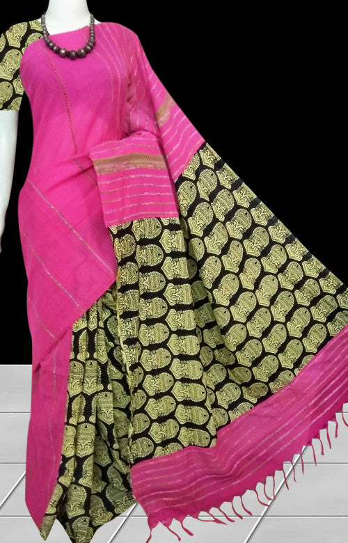 Rose pink mulmul cotton handloom saree with Khesh