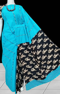 Peaceful sky blue color mulmul cotton handloom khesh saree