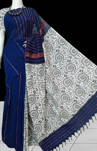 Classy dark blue colormulmul cotton handloom khesh saree