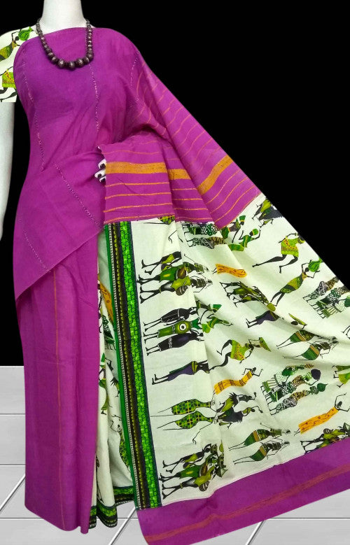 Elegant purple color mulmul cotton handloom saree with Khesh