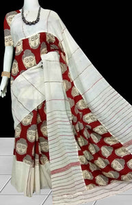 Decent white color mulmul cotton handloom saree with Khesh