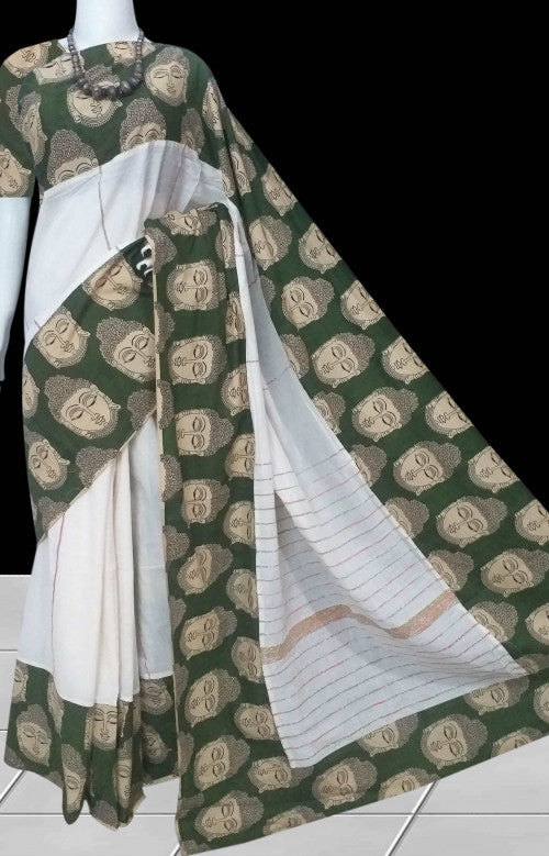 Graceful color combination mulmul cotton handmade saree with Khesh