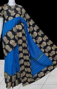 Ocean blue color mulmul cotton handmade saree with Khesh