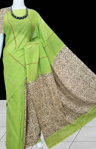 Pista Green handwoven Mulmul Cotton Handloom Saree