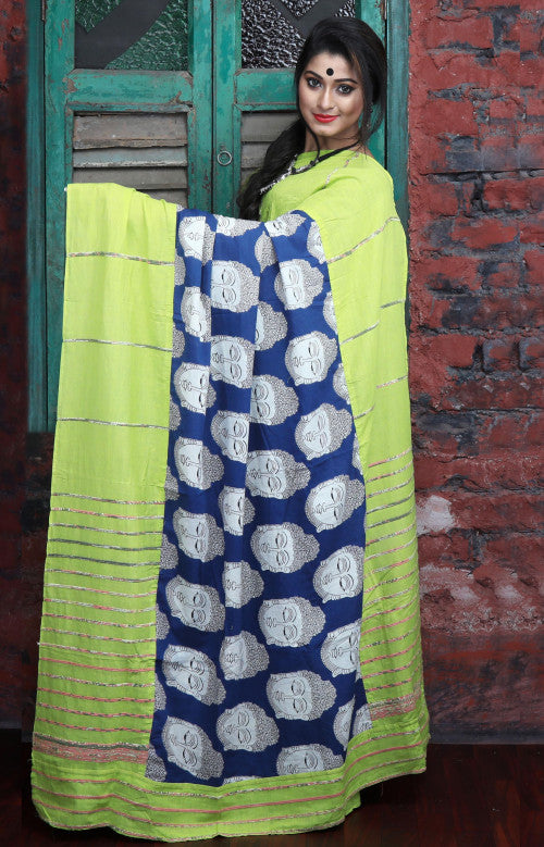 Green and blue color combination mulmul cotton handloom saree with Khesh