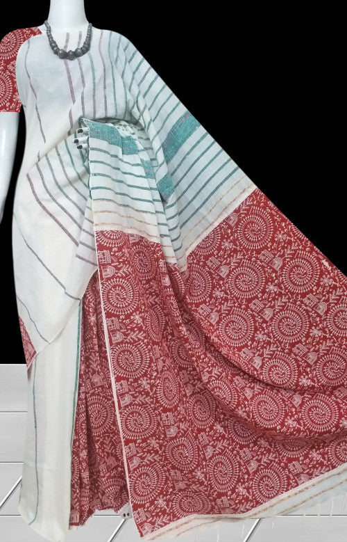 Mulmul cotton handmade khesh saree with gurjari print