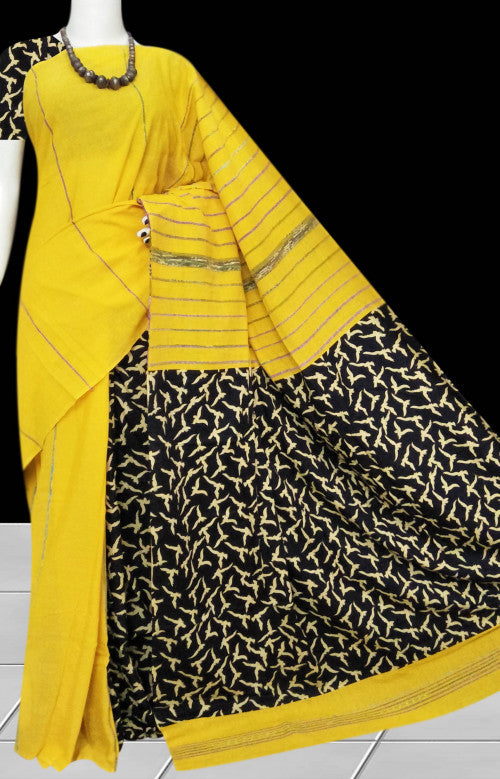 Turmeric Yellow mulmul cotton handmade saree with Khesh