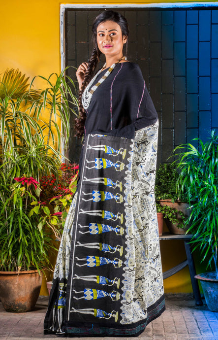 Black color mulmul khesh cotton handmade saree