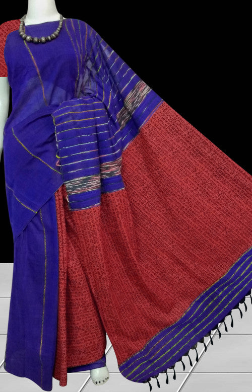 Ink Blue Mulmul Cotton Handloom Saree with Khesh work