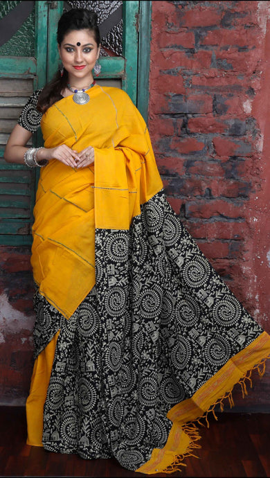 Yellow handwoven Mulmul Cotton Handloom Saree with Khesh work