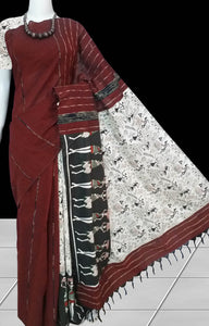 Trendy brown color mulmul cotton handloom saree with Khesh