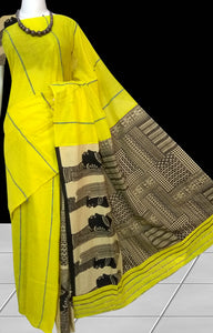 Fresh lemon yellow color mulmul cotton handloom saree with Khesh