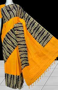 Turmeric Yellow mulmul cotton handloom saree with Khesh