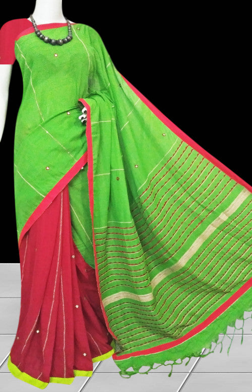 Red body mulmul cotton saree, dummy mirror work