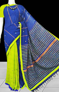 Lemon green body mulmul cotton saree, khesh embroidery with dummy mirror work