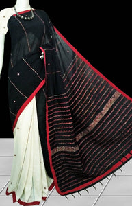 White body mulmul cotton saree, khesh embroidery with dummy mirror work