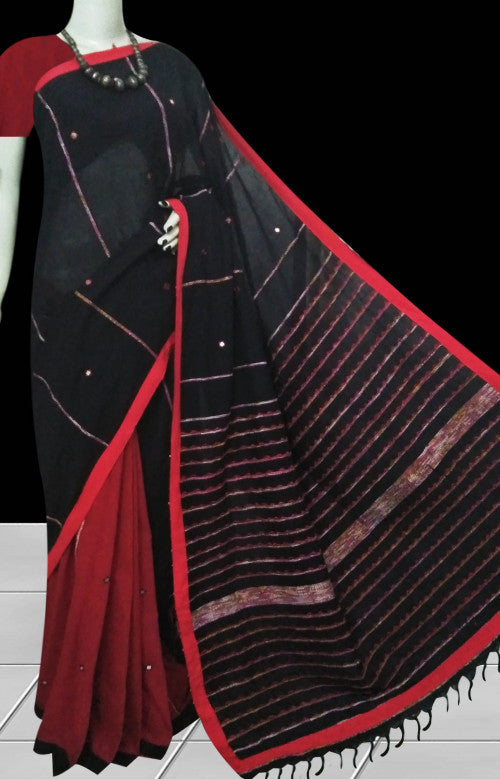 Red body mulmul cotton saree, khesh embroidery with dummy mirror work