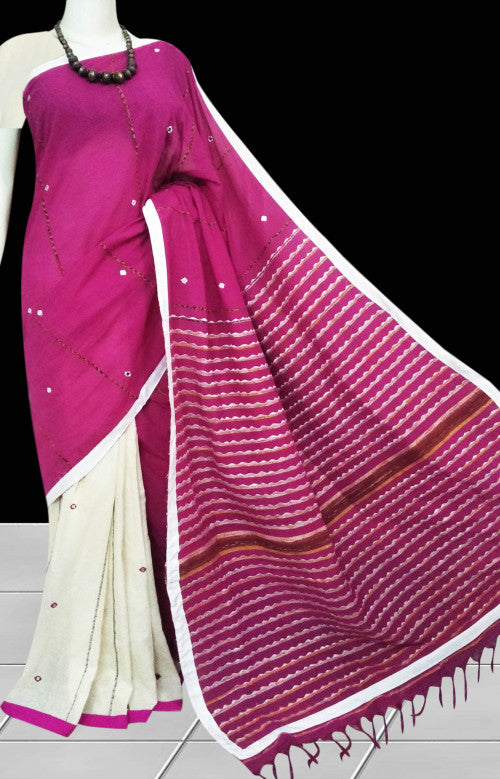 White & pink body mulmul cotton saree, embroidery & mirror work