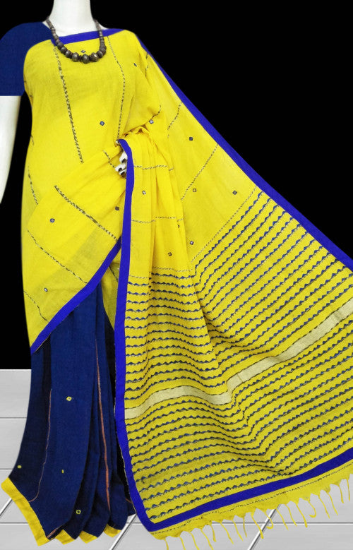 Yellow & blue body mulmul cotton saree