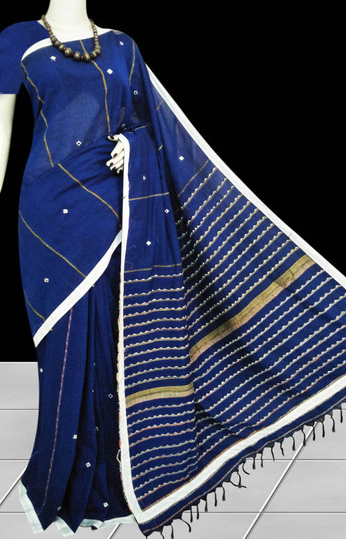 Blue body mulmul cotton saree, khesh embroidery with dummy mirror work