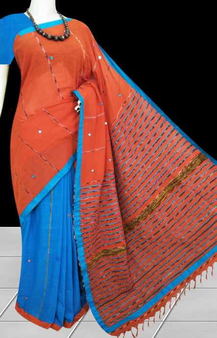 Orange & sky blue body mulmul cotton saree