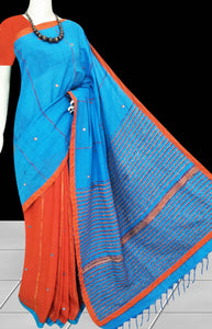 Blue & orange body mulmul cotton saree, embroidery & mirror work