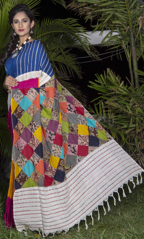Elegant multicolor mulmul khesh cotton handmade saree