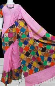Delightful pink color mulmul cotton handloom saree