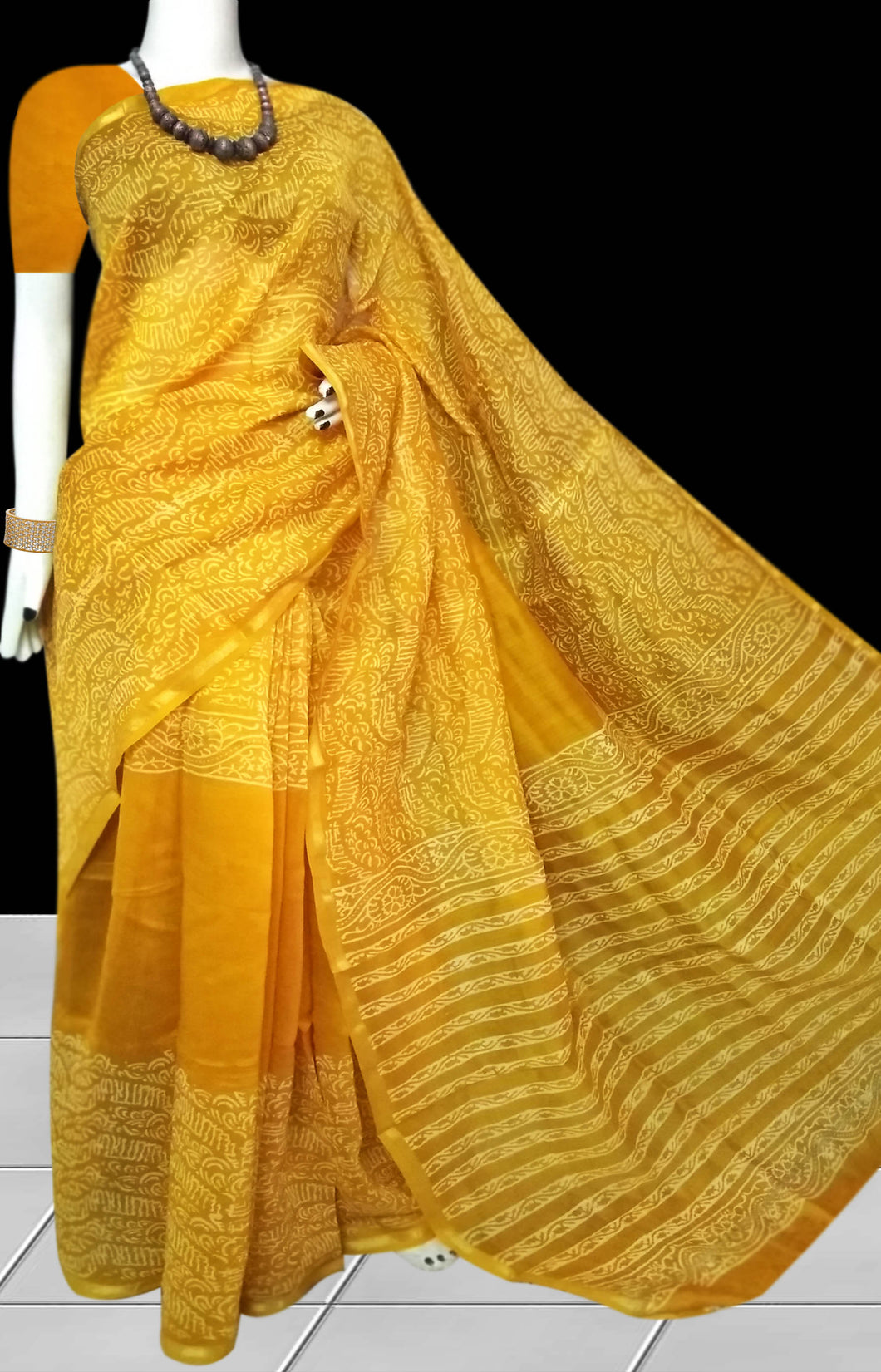 Yellow Color pure chanderi printed silk saree