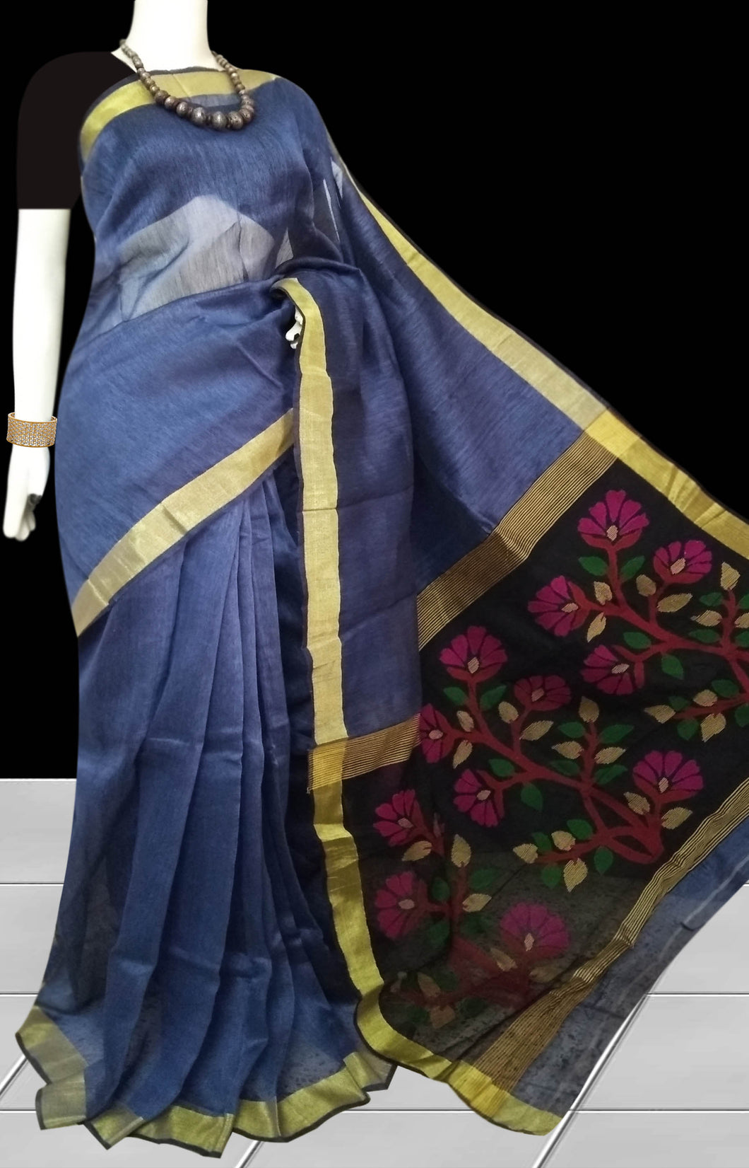 Blue Color Linen Saree
