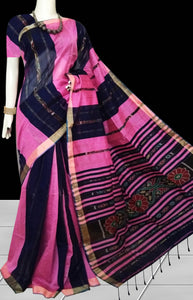 Pink and Blue Color Cotton Silk  Saree
