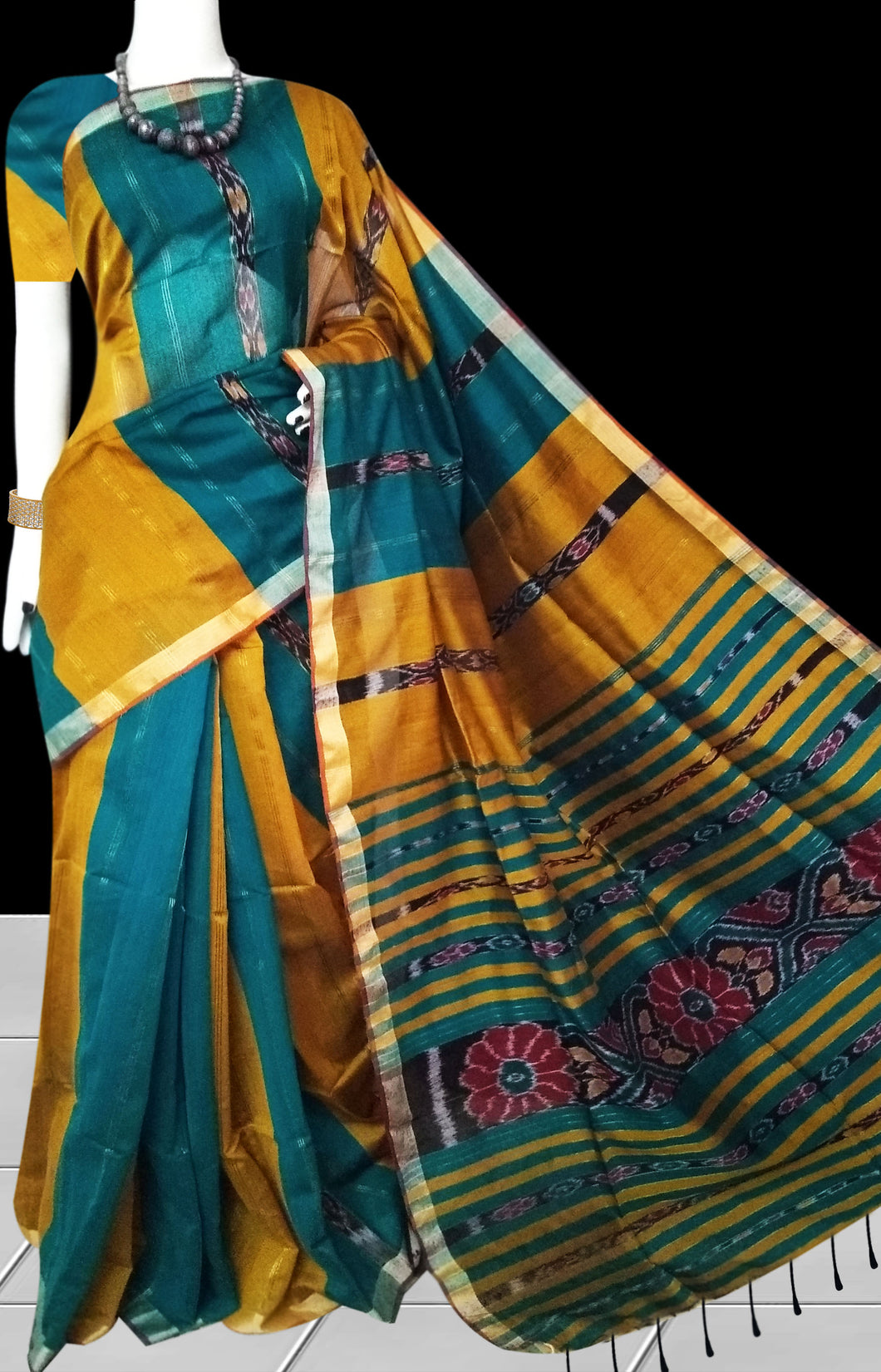 Green and Yellow Color Cotton Silk  Saree