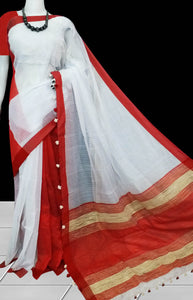White & red cotton silk handmade saree with ghicha work on pallu