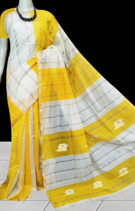 Shiny yellow & white cotton silk handmade saree