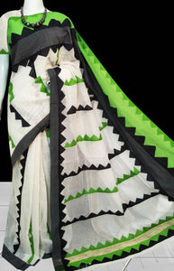 white cotton silk saree with nayal, appliqué work in green & black
