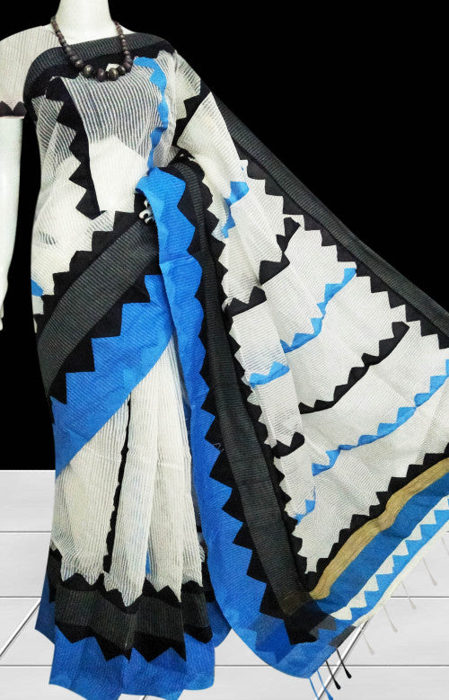 White cotton silk saree with nayal, appliqué work in blue & black