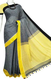 Linen khadi saree with pompom or kodomjhuli work