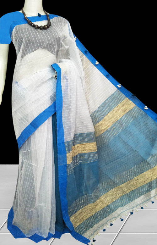 White cotton silk handmade saree with ghicha work on pallu