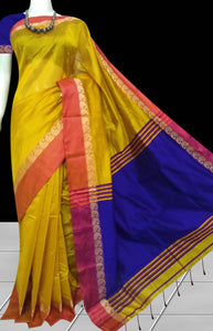 Golden yellow & royal blue paatli pallu saree