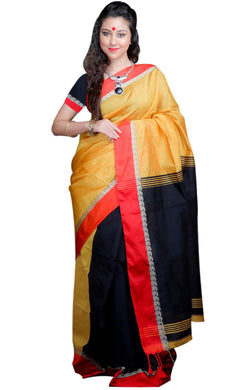 Golden yellow and black paatli pallu saree