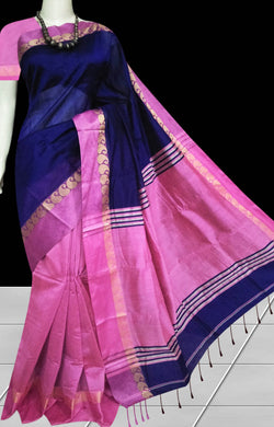Royal blue and pink color paatli pallu saree
