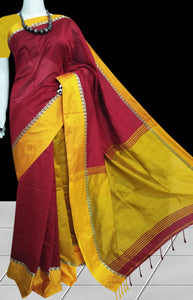 Red and golden yellow color combination paatli pallu saree