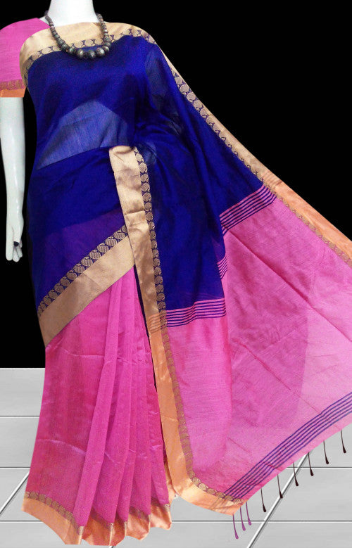 Royal blue and pink color paatli pallu saree, beautified with border, golden thread work in aam design.