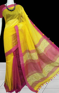 Shiny yellow cotton silk handmade saree with ghicha work on pallu