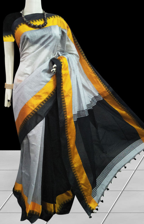 Grey and black color combination paatli pallu saree