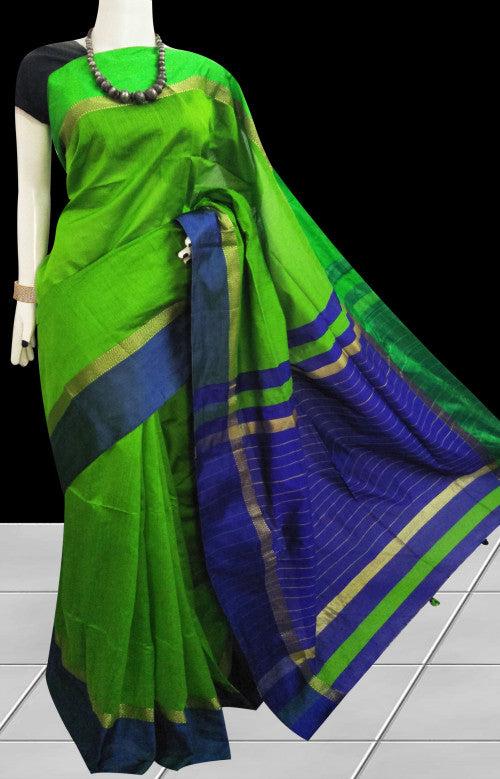 Green and blue color combination saree