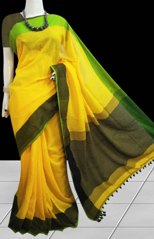Cotton handfinished saree in smart colour combination