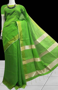 Beautiful green color base cotton silk saree