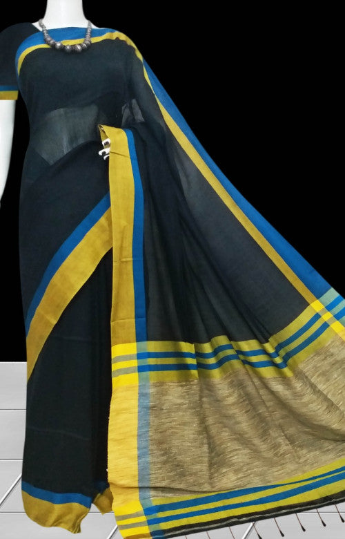 Elegant Black & beige cotton silk handmade saree