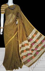 Delightful brown color soft moklin handloom saree, decorated with traditional ghicha work and also temple work on pallu